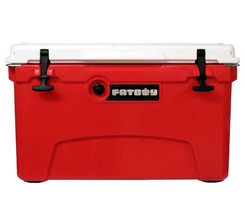 Fatboy 45QT Rotomolded Cooler Red White Collegiate